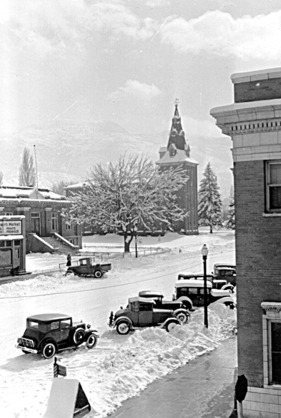 A winter view of the Cedar City Tabernacle. Looking South on Main St. The building in the foreground is now Wells Fargo.